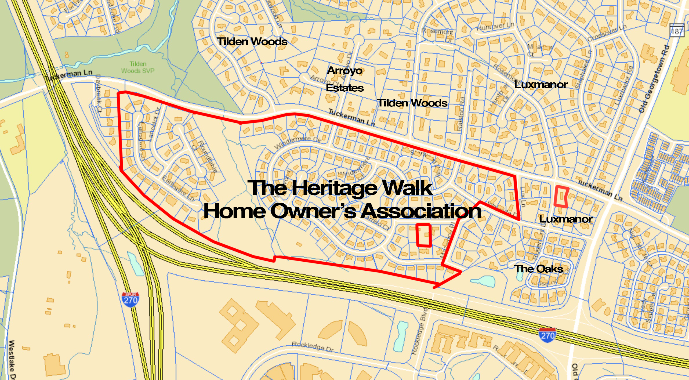 This map depicts the boundaries within the HOA, commonly known as Windermere I.