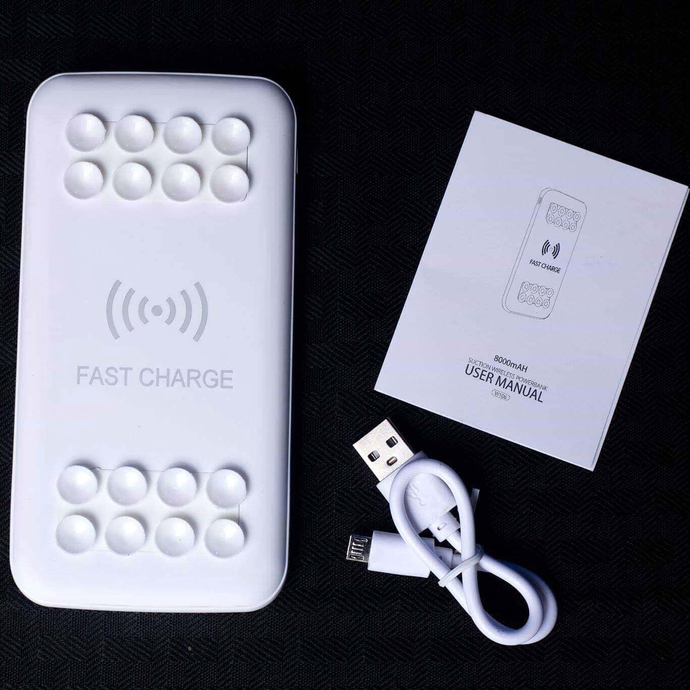 Wireless/wired portable charger - White