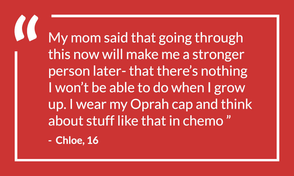 Oprah signed a cap for a young girl going through chemo