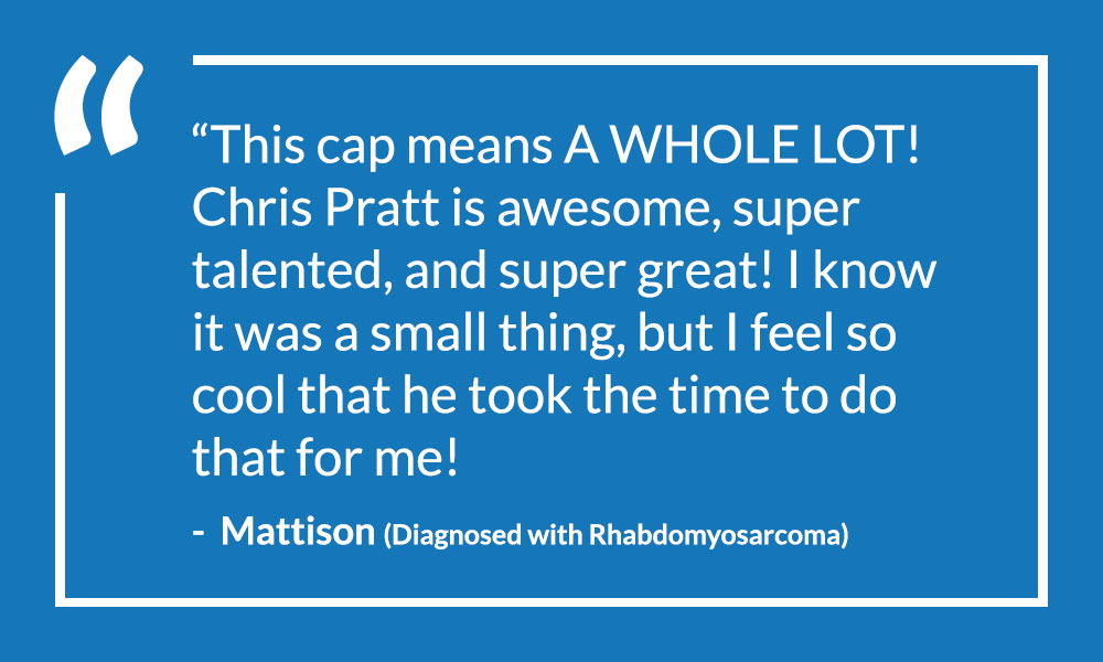 Mattison's quote about Chris Pratt signing her cap after diagnosed with cancer