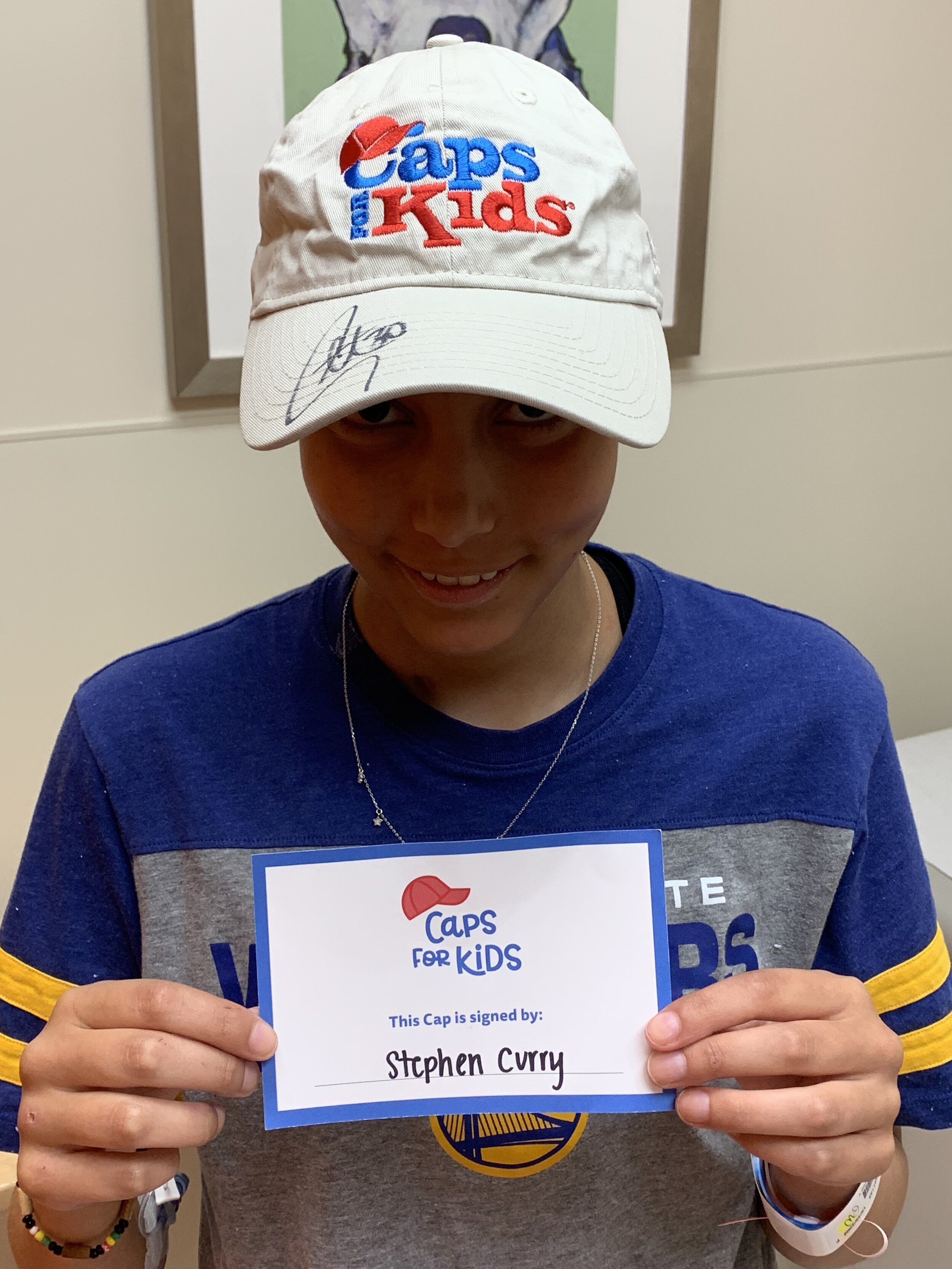 Former Competitive Gymnast Flips Over Steph Curry Cap Caps For Kids Creating Smiles For Kids With Cancer