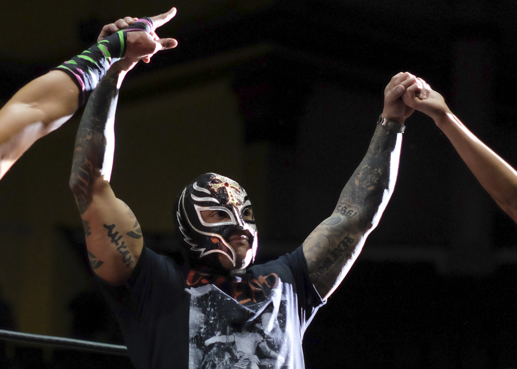 "Lucha libre legend Rey Mysterio Jr. embraces strong photos — many cleverly obscuring what's under the mask — and fan engagement on his  own social media . (Credit: Bill Zimmerman"")"