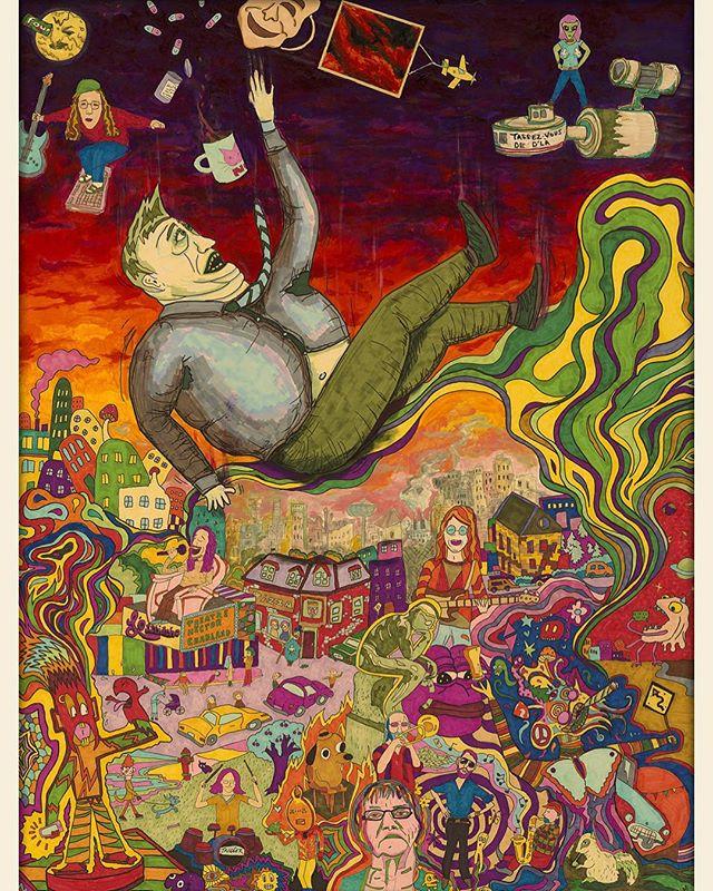 Voici l'illustration de notre premier album «2034» qui a été réalisée par @mathieustonge #lesfunktionnaires #2034 #art #music #psychedelic #funk #jazz #painting #70s #artwork #artworks #album #musician #groovy #funky #surreal #surrealism #abstract #dream #dystopian #quebec #montreal #montrealartist