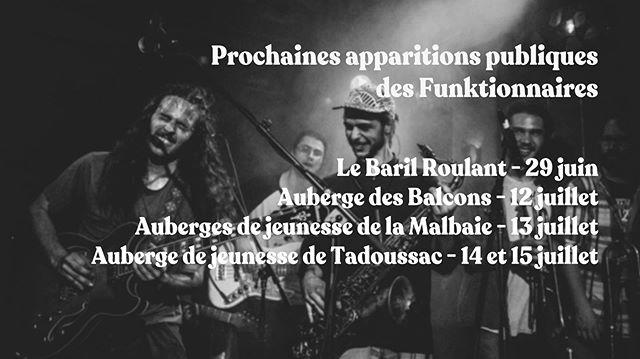 Nos prochaines apparitions publiques.  On a hâte de vous revoir cet été!  Photo: @murieloephotography  #show #live #band #music #art #montreal #mtl #qc #quebec #funk #rock #jazz #charlevoix #lesfunktionnaires #tour #musician #musicians