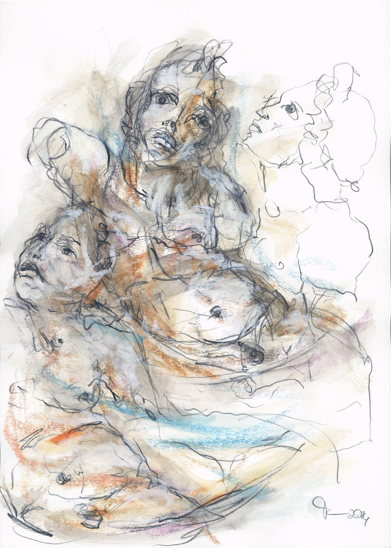 """""""Plutosknabe"""" 42 x 29,7 cm Mischtechnik auf Papier 2014"""