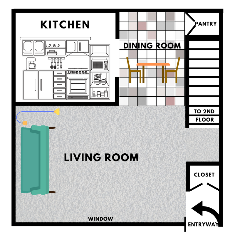 1st Floor - $599/mo.730-750 sq. ft.1 Bedroom & 1 BathroomFull-Size Mirror Closet in Living RoomThe Huron Model is best for individuals or couples looking for plenty of living space.