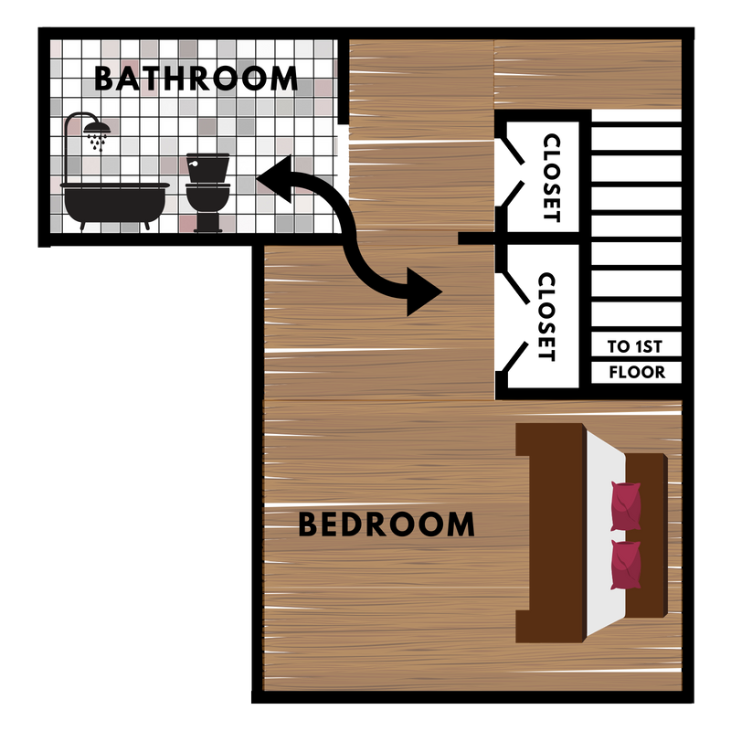 2nd Floor - Our townhomes feature both hardwood and carpet options on the second floorsHis & Her's Closets offer plenty of storage!Fits King Size BedBedroom Balcony options are available as well.