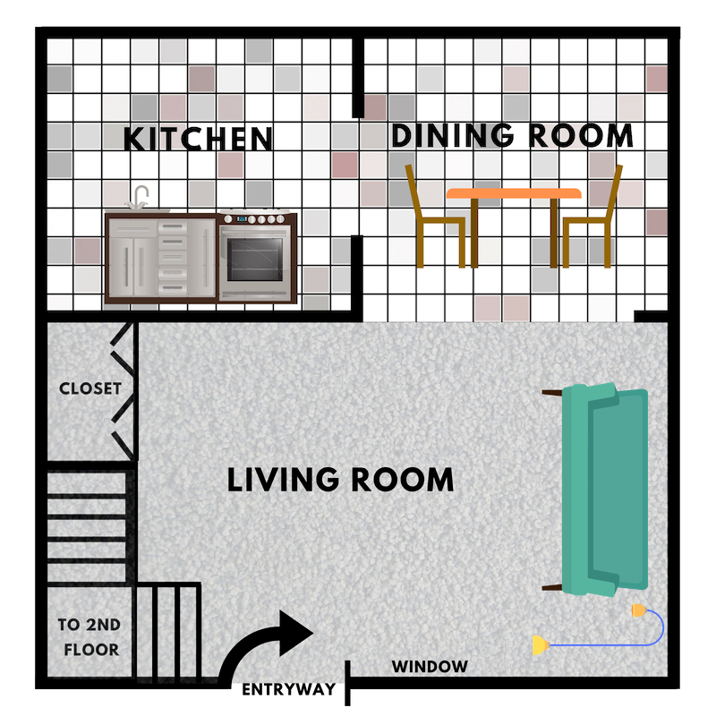 1st Floor - $699/mo.830 - 850 sq. ft.2 Bedrooms & 1 BathroomFull-Size Mirror Closet in Living RoomThe Huron Model is best for individuals or couples looking for plenty of living space.