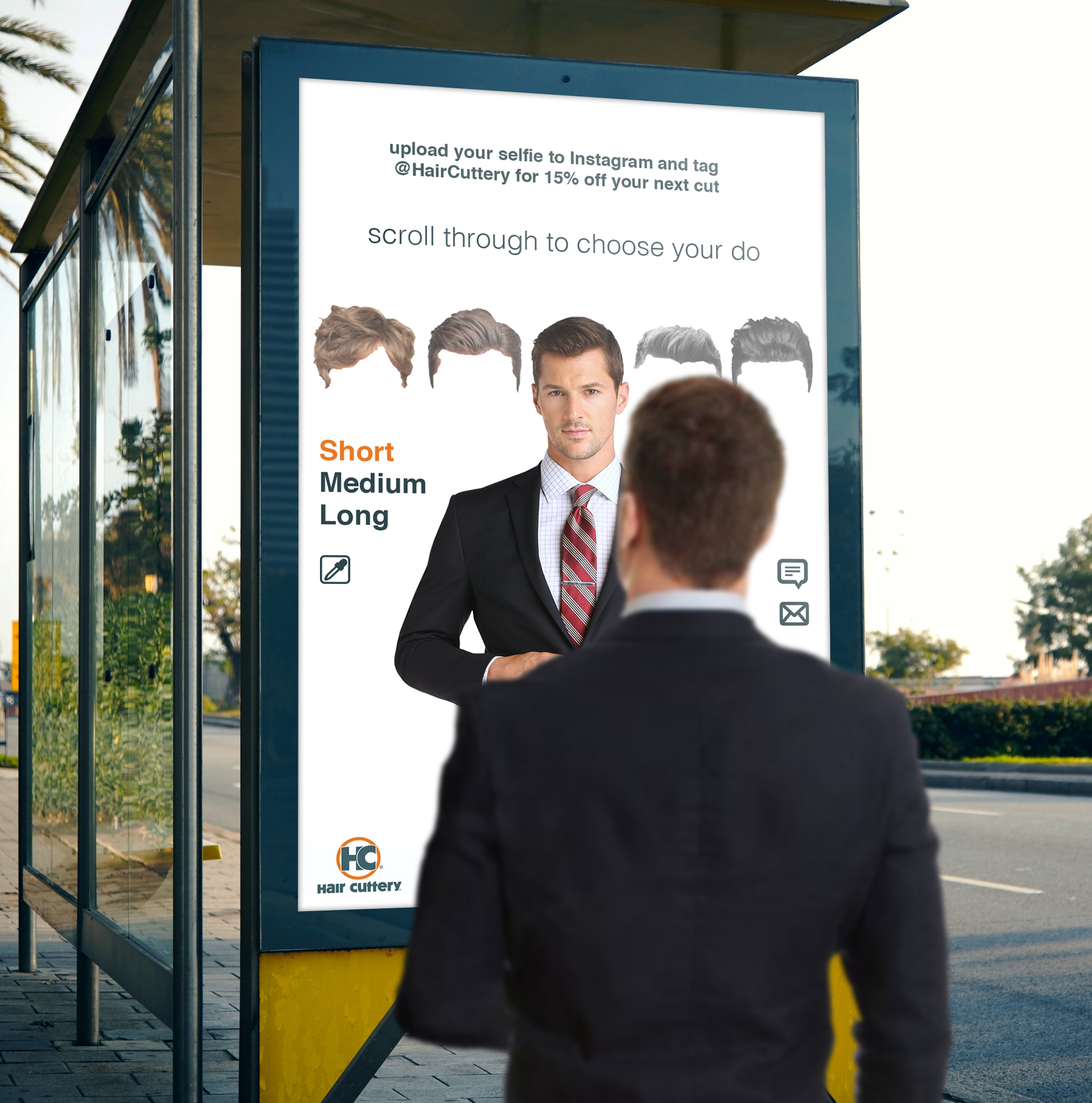 Using AR technology, this digital bus shelter ad lets pedestrians try out different hairstyles and send themselves a photo of the result. It is particularly useful for a walk-in salon like Hair Cuttery, where stylists often ask new customers for a reference photo.