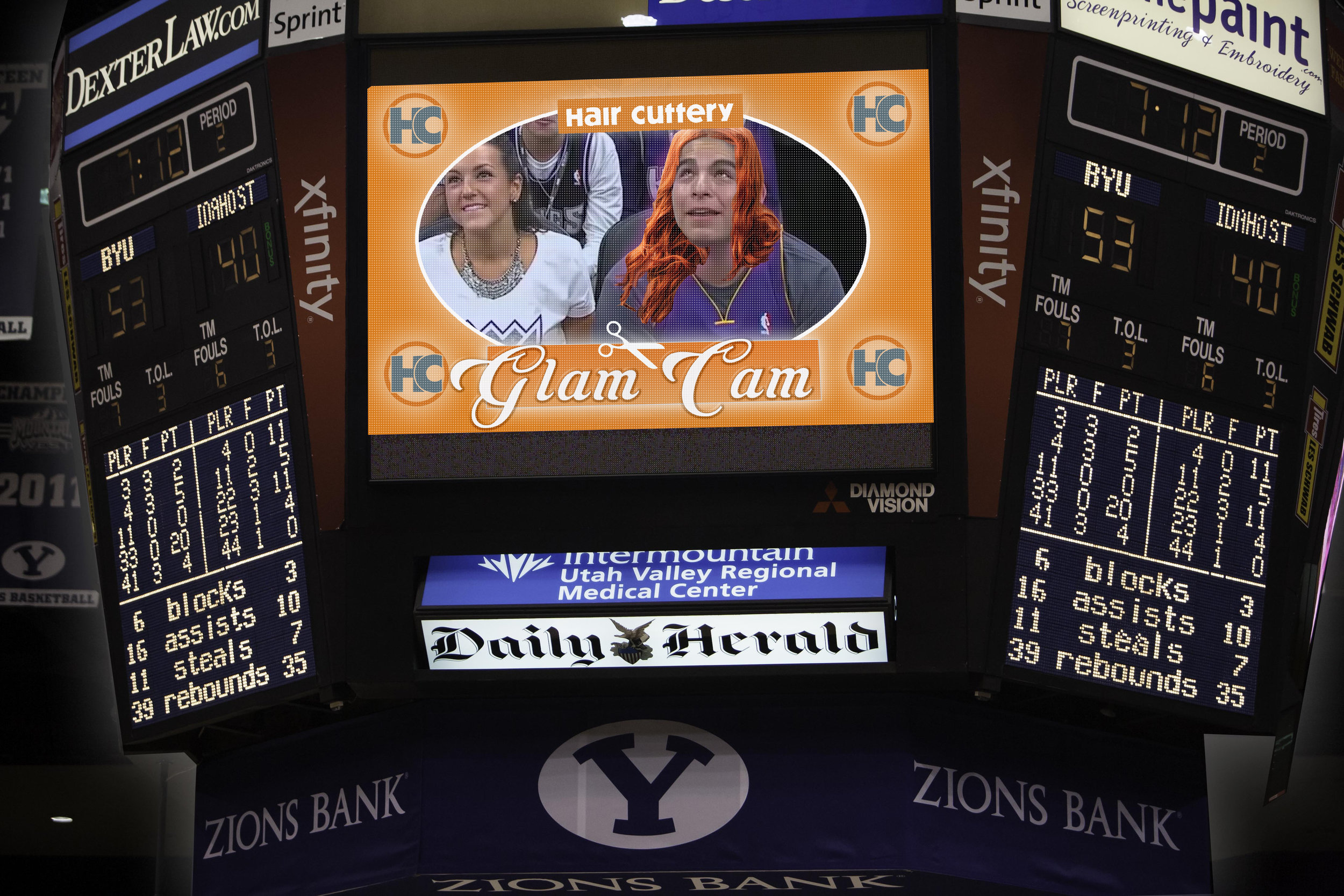 """The Hair Cuttery """"Glam Cam"""" uses AR technology to give sports fans a new do'."""