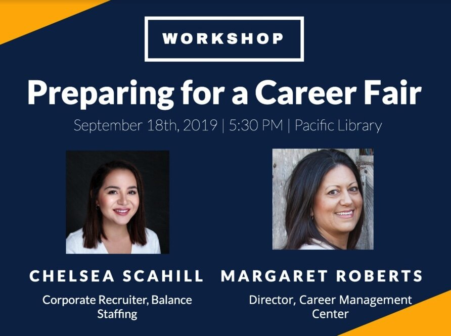 - Preparing for a Career FairIn this workshop, Chelsea Scahill and Margaret Roberts shared their advice on making a lasting impression at a Career Fair and perfecting the Elevator Pitch.