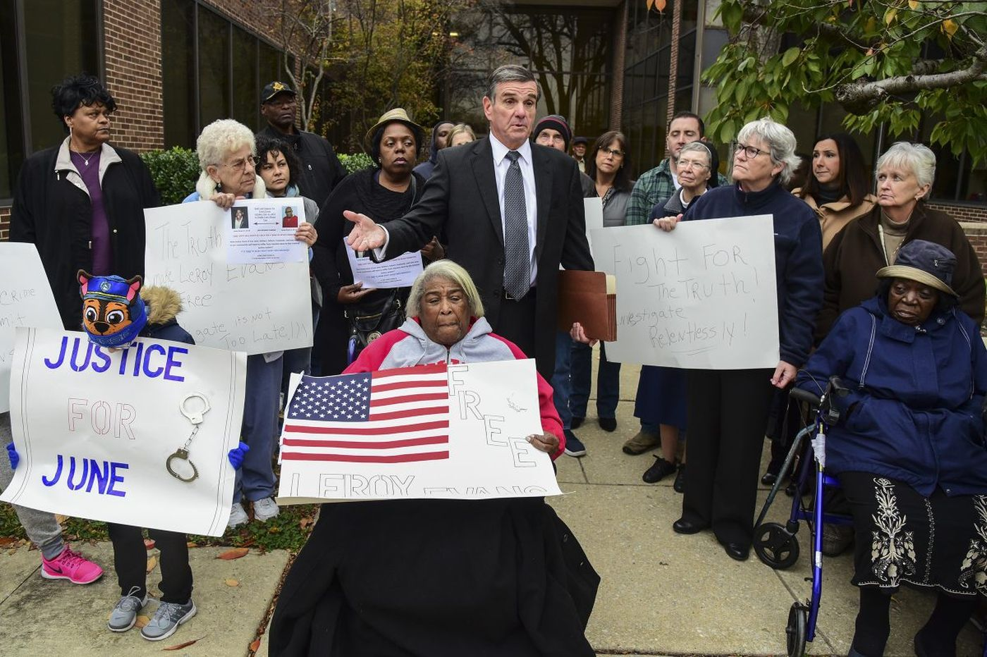 Leroy's family and supporters at a recent protest, asking for a re-examination of the evidence against him
