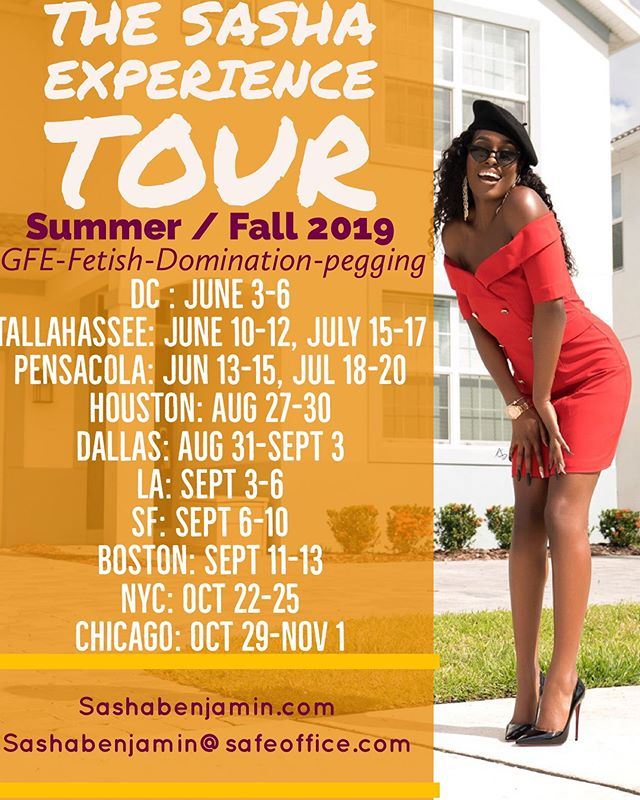 The Sasha Experience Tour: Summer / Fall 2019 ⠀ ⠀ This is the ultimate experience and I'm delighted to reacquaint with old suitors and meet new ones 😏 ⠀ ⠀ About me: Classy , Sassy and a little bad assy. ⠀ ⠀ Note to my suitors: If you obey all the rules, you'll miss all the fun 😘 ⠀ ⠀ #DC #datedc #datenova #datedmv #orlando #dateorlando #gfe #boston #dateboston #sf #la #datesf #datela #nyc #datenyc #chicago #datechicago #houston #datehouston #dallas #datedallas #tallahassee #datetallahassee #pensacola #datepensacola #fetish #domination #pegging
