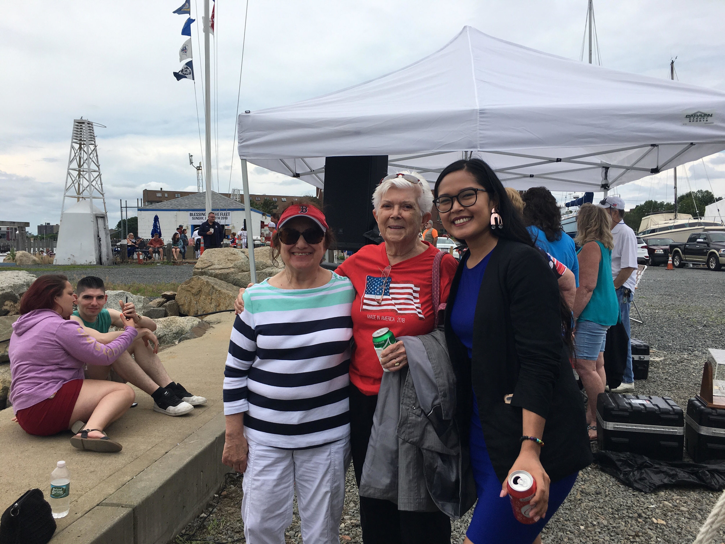 "Cinda attended the Lynn Fire Department's ""Blessing of the Fleet"" ceremony at the Volunteer Yacht Club. The new rescue boat, Marine-1, was named in honor of 100-year-old Rocco ""Rocky"" Brienzo (who is the oldest living retiree)."