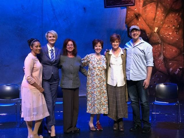 The cast of the Garry Marshall Theatre reading of INTERVIEWESE with the playwright and director Carolyn Hennesy.