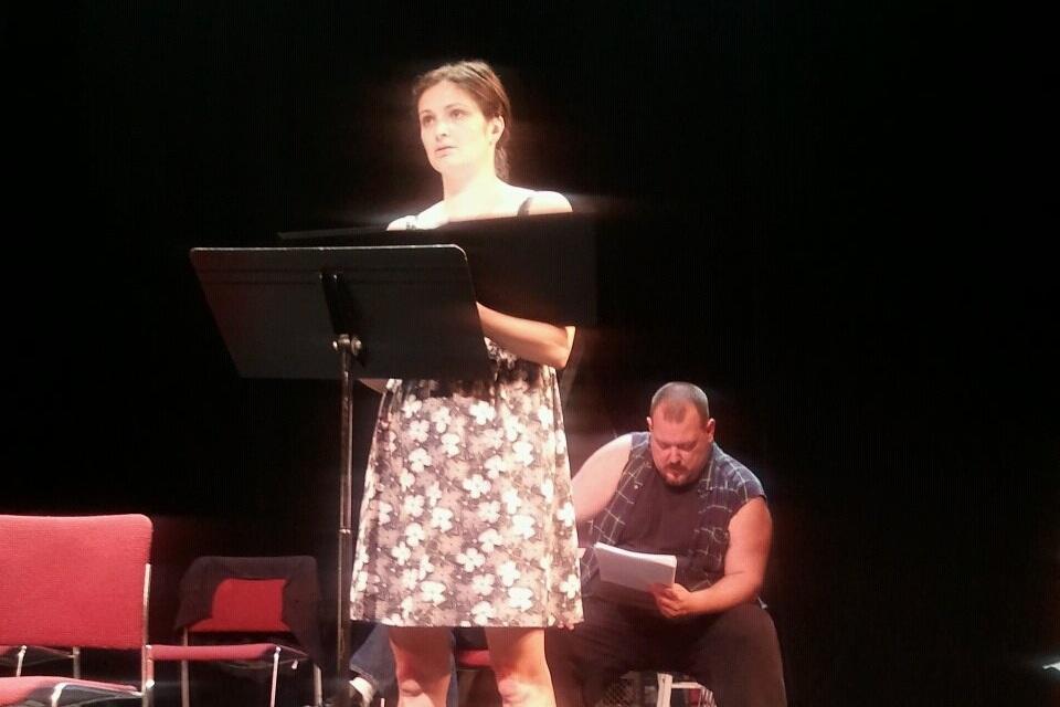 The Passage Theatre Company reading of THE AISLING, directed by Damon Bonetti.  Pictured: Brielle Silvestri, John Jezior.