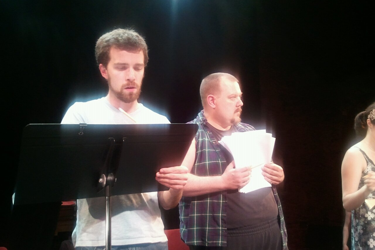 The Passage Theatre Company reading of THE AISLING, directed by Damon Bonetti.  Pictured, Matthew Ellis Murphy, John Jezior.