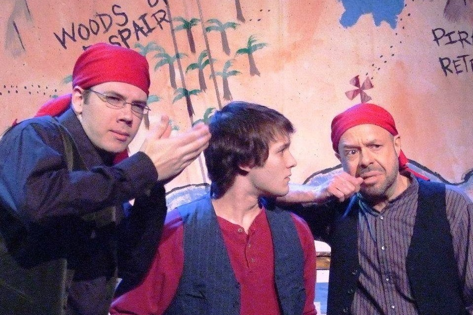 A scene from  Treasure Island . From left to right: R. Liam Jennings, Christopher Jones, Paul Whelihan