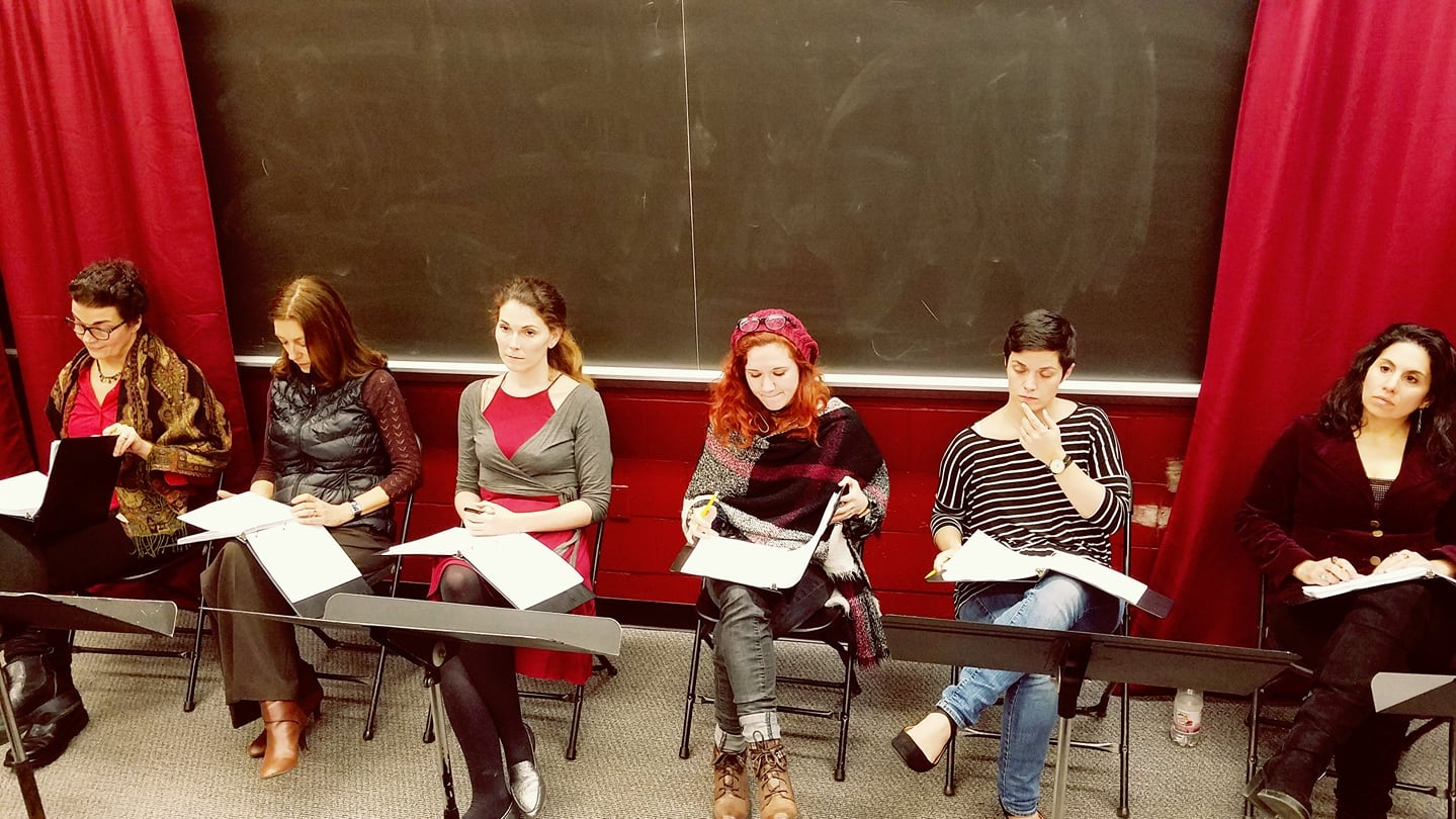 The talented cast from the Writers Theatre of NJ reading of The Excavation of Mary Anning, directed by Damon Bonetti.. From left to right: Katrina Ferguson, Judith Lightfoot-Clark, Jessica DalCanton, Jenna Kuerzi, Kristen Norine, and Sarah Corey. Produced by John Pietrowski, and stage managed by Danielle Constance.