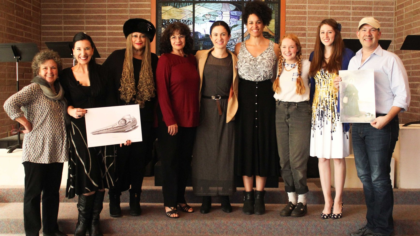 The playwright with the creative team from the Ashland New Plays Festival reading of The Excavation of Mary Anning. From left to right: Director Penny Metropulous, Shannon Davis, Michele (Maisy) Mais, Livia Genese, Alejandra Escalante, Jennie Greenberry, Meghan Nealon, and Stage Direction reader Marie-Claire Erdynast. Photo by Kara Quinn.