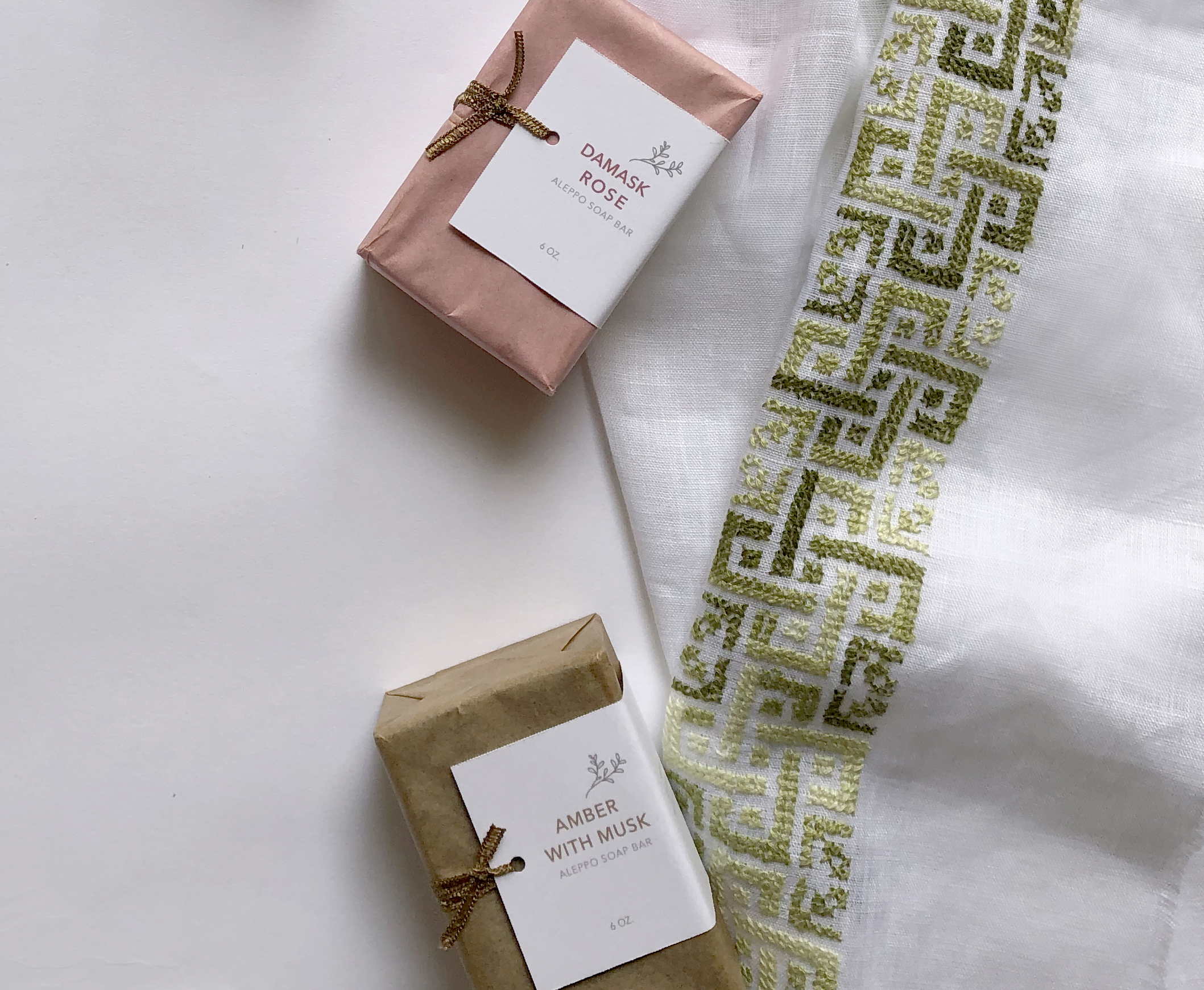 """Aleppo Laurel Soap - """"I purchased three different soap scents of these exquisite soaps as favors for a baby shower I hosted, and they were an absolute hit amongst my guests. Aside from their amazing quality as soap bars, they emit the most divine aroma that can fill any room. Thier clean and crisp fragrance always triggers nostalgia for being in the Middle East.""""-DIMA H., LAGUNA NIGUEL, CA"""