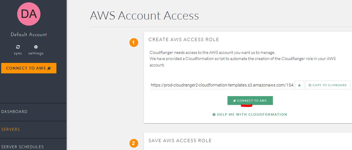 CloudRanger tili ja AWS -yhteys