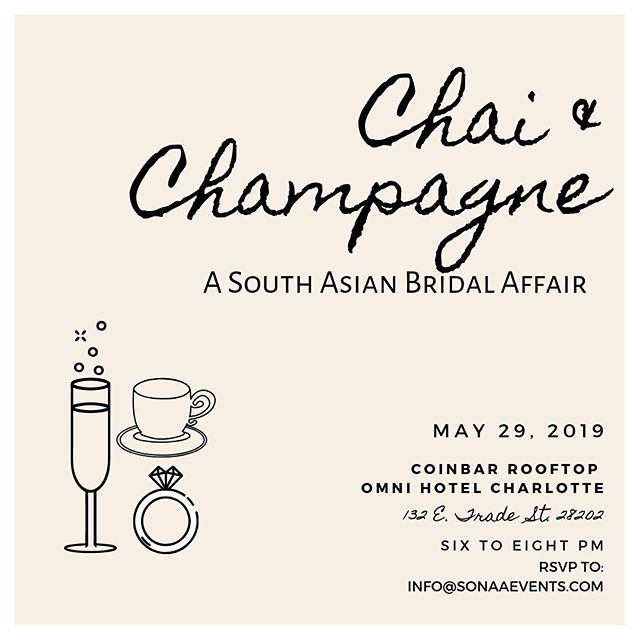 To all our Carolina Brides-to-Be! We are thrilled to announce our first ever Bridal event this month! @omniclt and @sonaaevents present to you Chai & Champagne. An evening of mingling, Qs & As with different vendors and of course light bites and bevvies. Register today and, bring a friend! More details coming soon! Eek! ... #sonaaevents #omnihotelcharlotte #chaiandchampagne #bridalevent #southasianbridescharlotte #carolinaweddings #indianwedding #charlotte #cltnc #charlottevents #happyhour #chai #champagne #brides #indian #networking #roundtable #community ... @djrang @digitalsparkweddings @sansaaraphotography @bridal_draping_byrital @dulhanusa @rashmillionaire @thecarolinadesi @sanidesigns