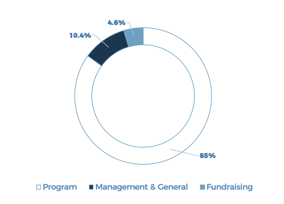 Program - 85%; Management and General - 10.4%; Fundraising - 4.6%
