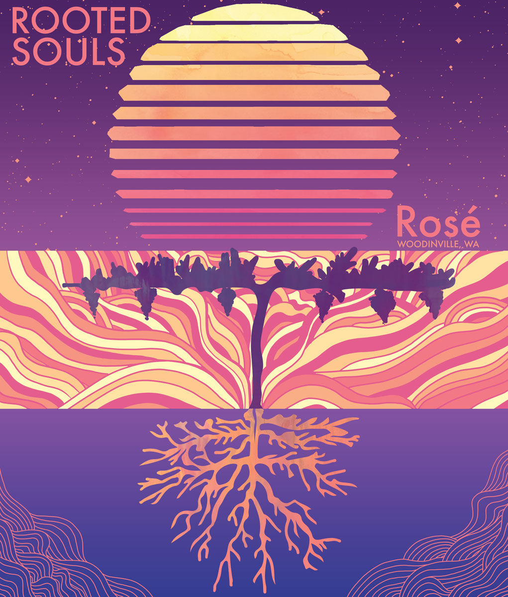 Rooted Souls Winery 2018 Rose Label