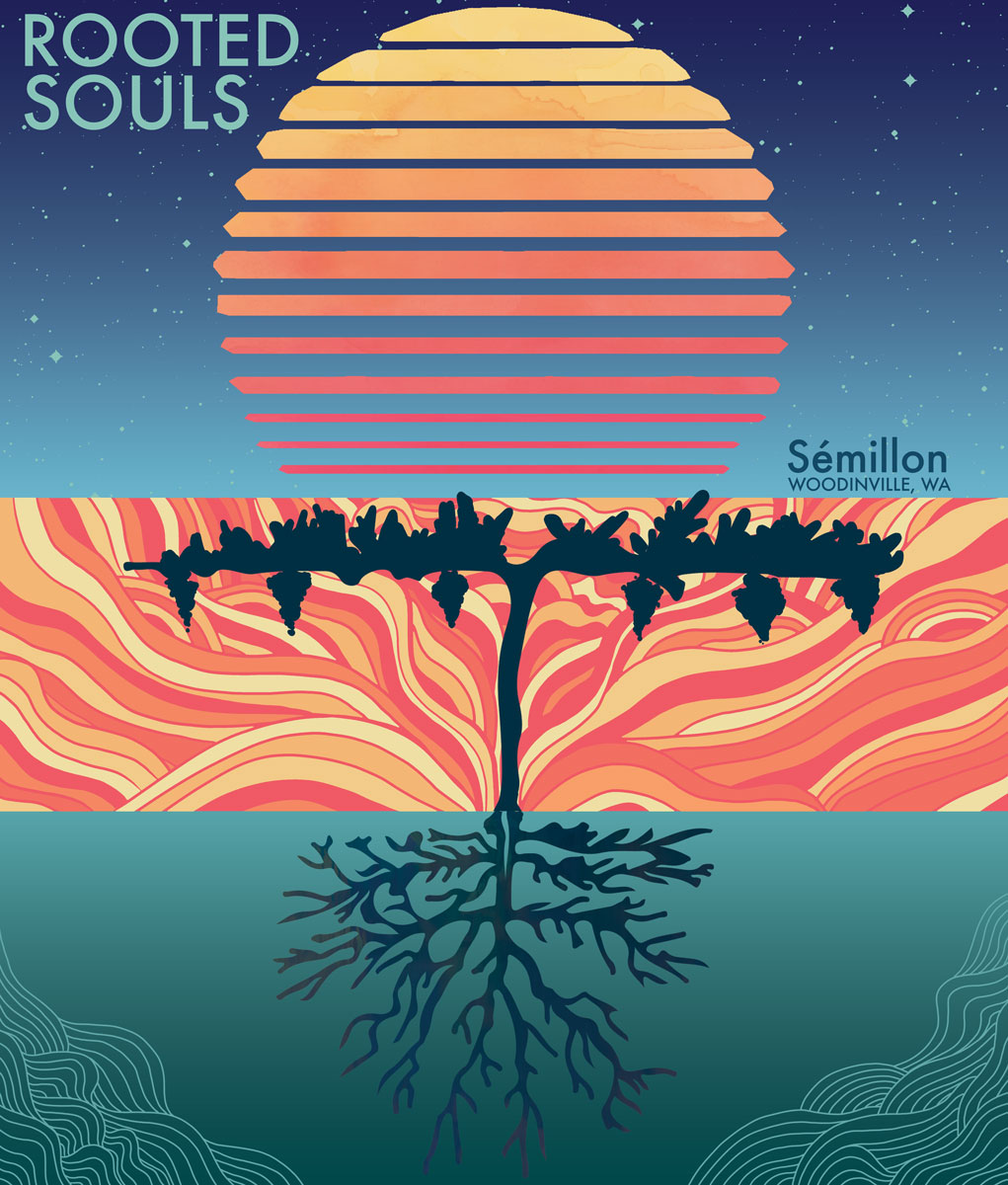 Rooted Souls Winery 2018 Semillon Label