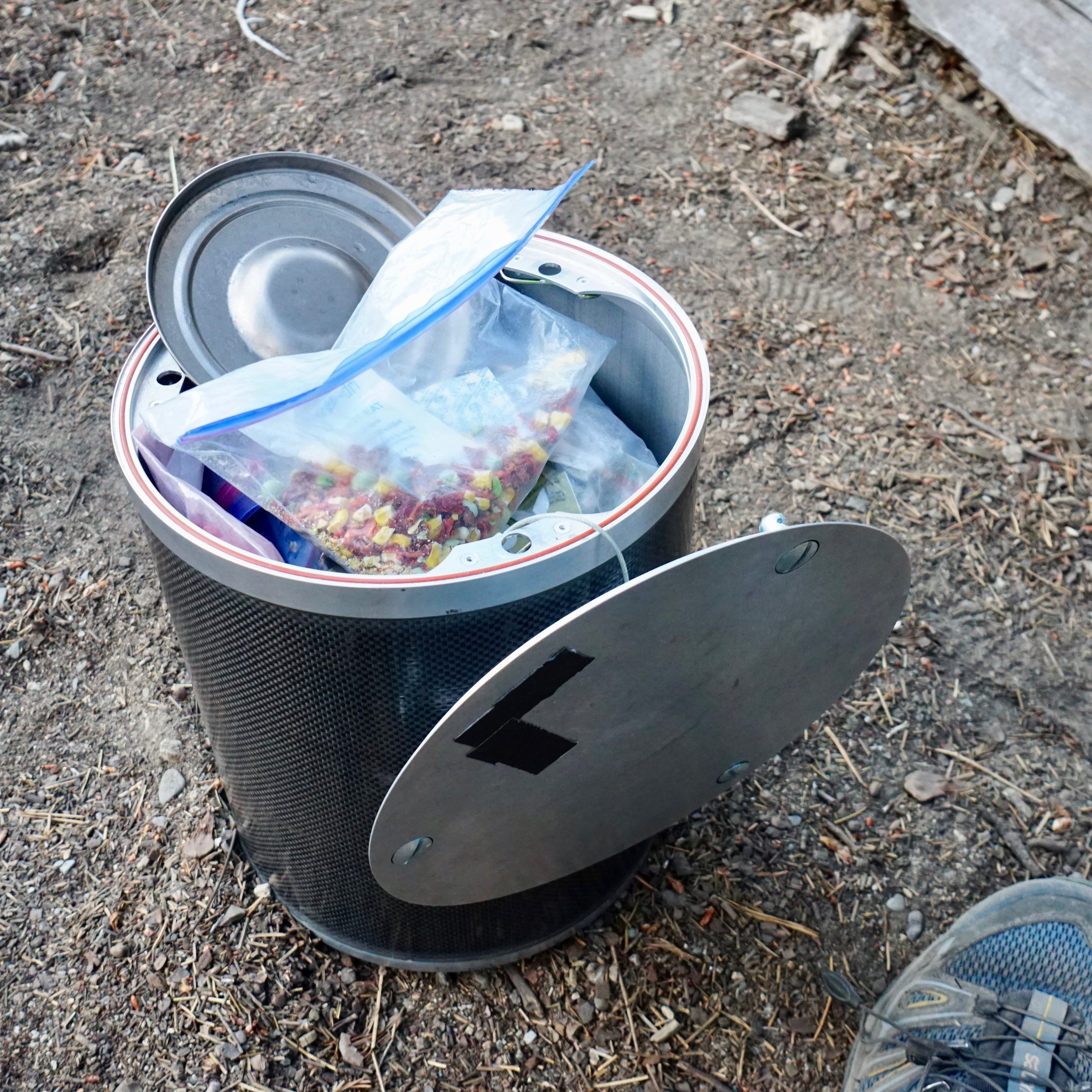 Bear canister - Some wilderness areas require bear canister use. My Bearikade canister can hold about 6 days of food.