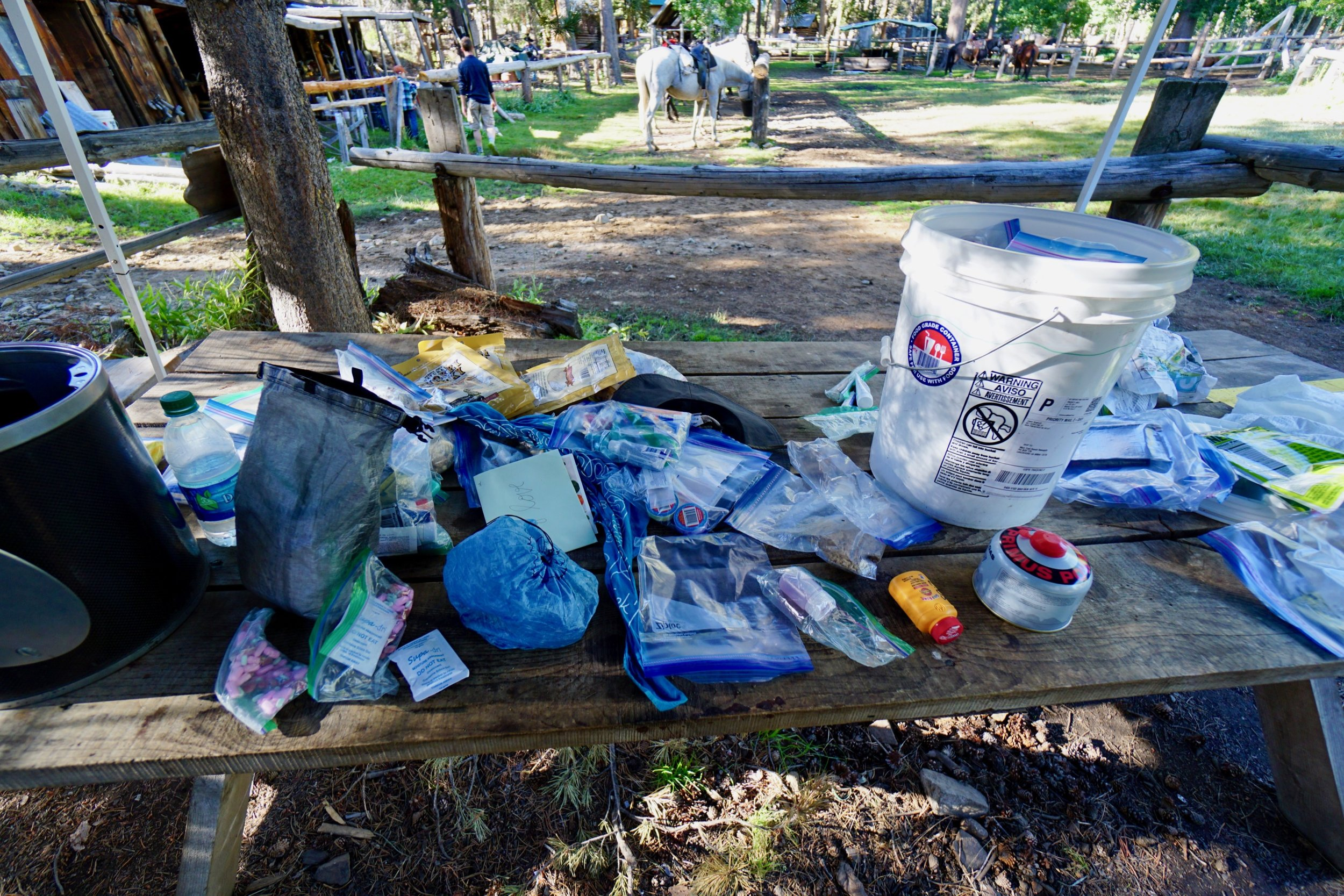 Resupply - Food Resupply is a combination of store shopping and mailing ahead. Yogi's Pacific Crest Trail Handbook includes a comprehensive list of PCT resupply options.Photo is my resupply at Muir Trail Ranch, 2017.