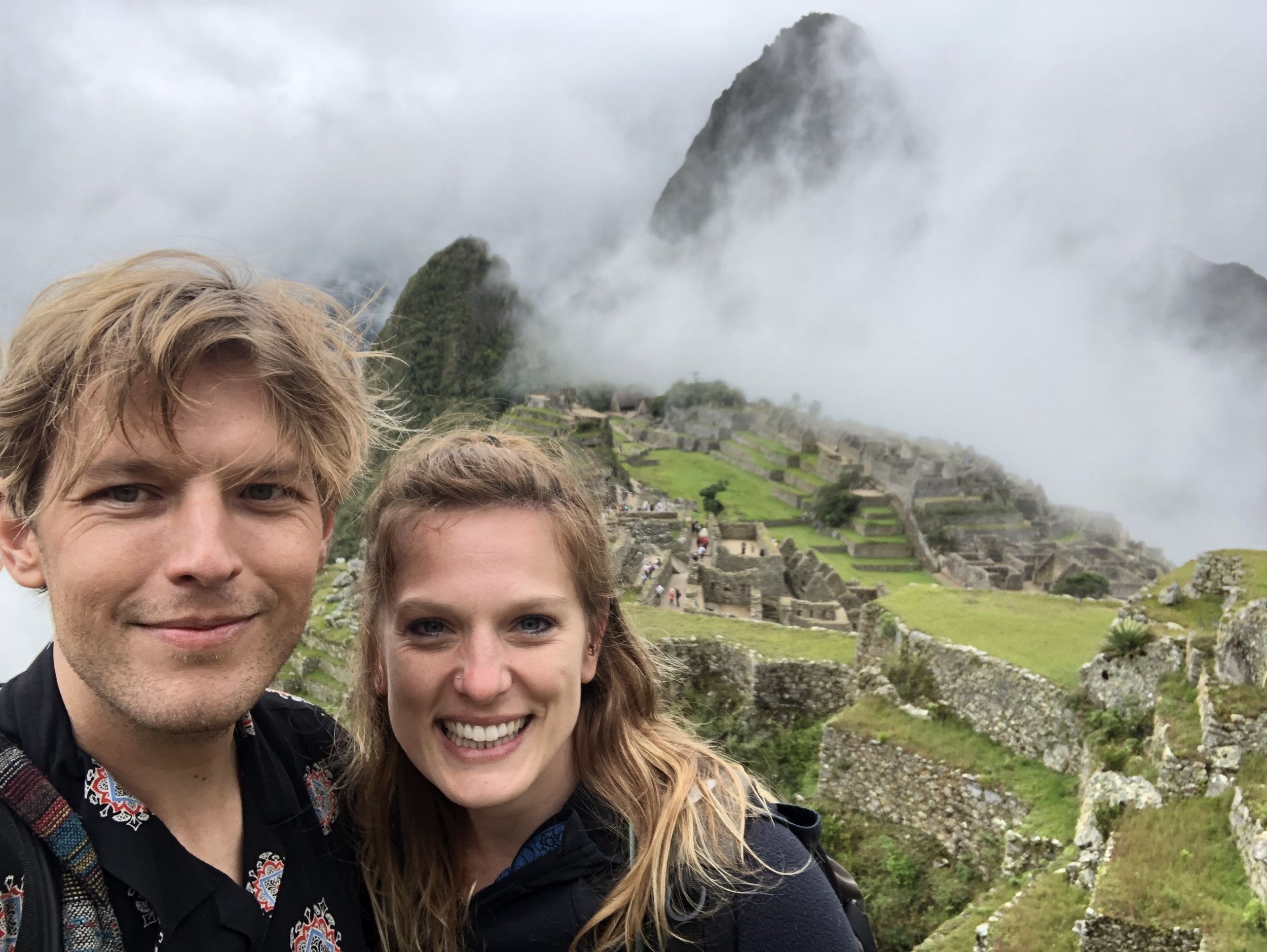 We made it to Machu Picchu! And had a break in the dreaded fog for this photo.