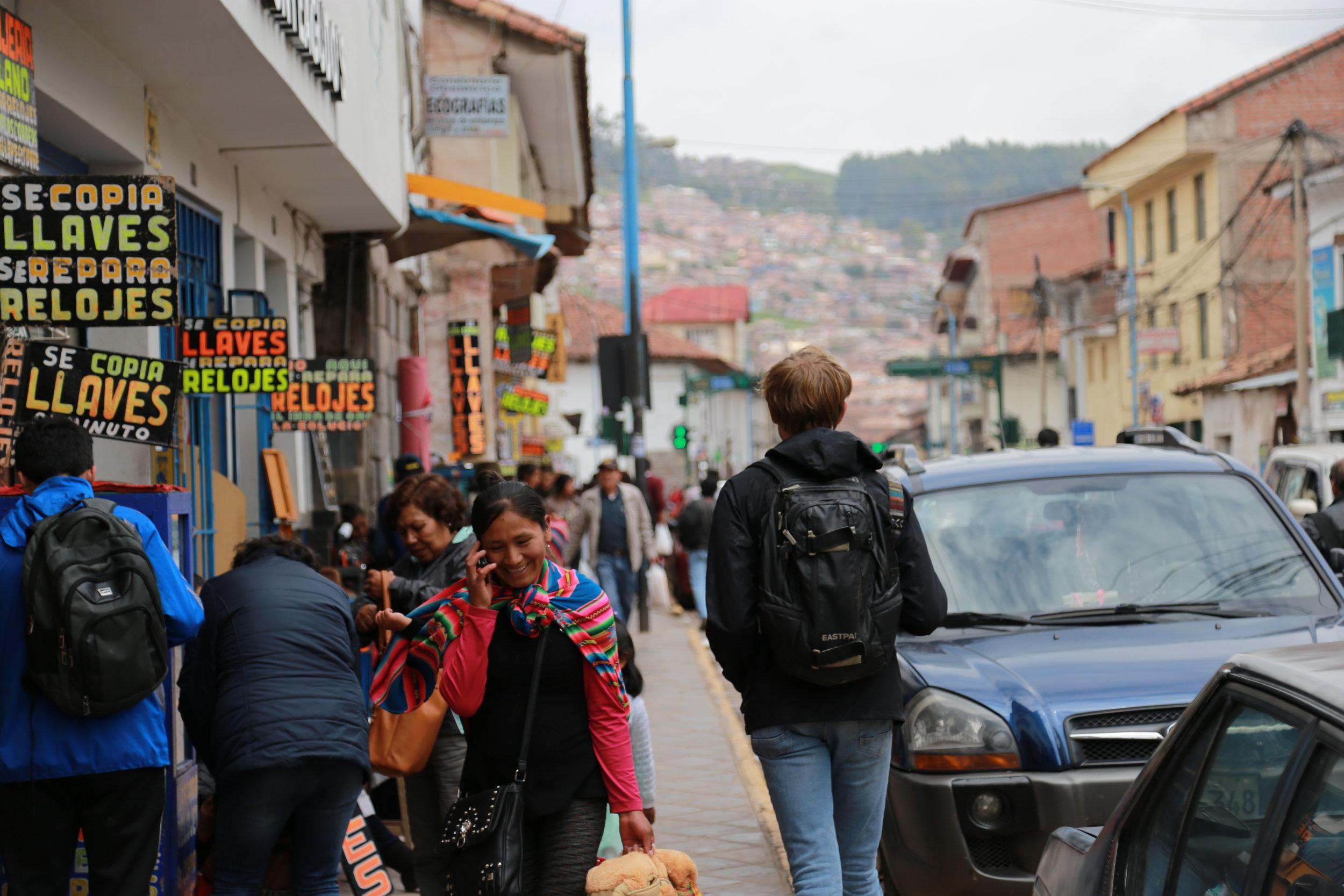 Colorful Cusco street life