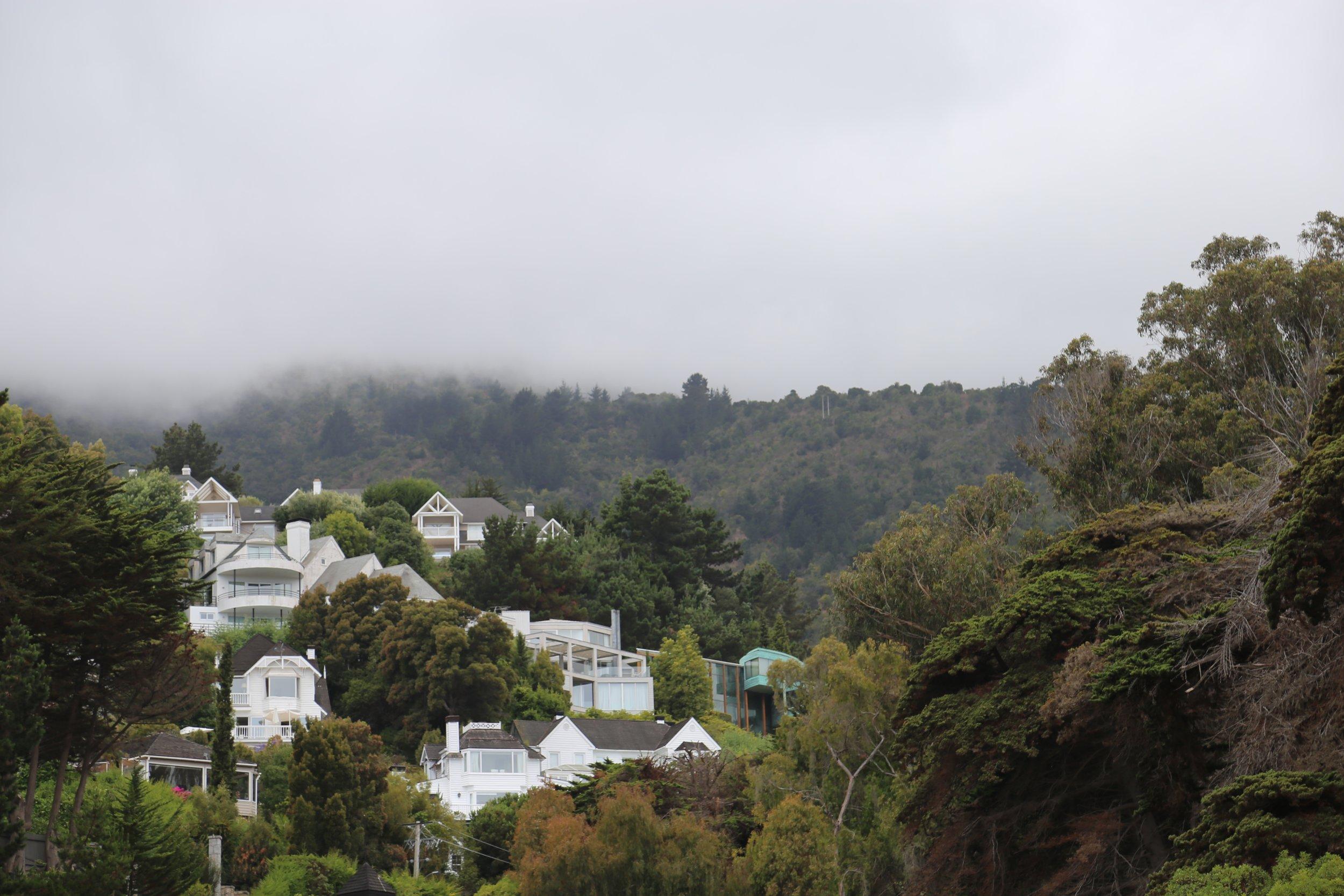 Houses overlooking Zapallar Beach.