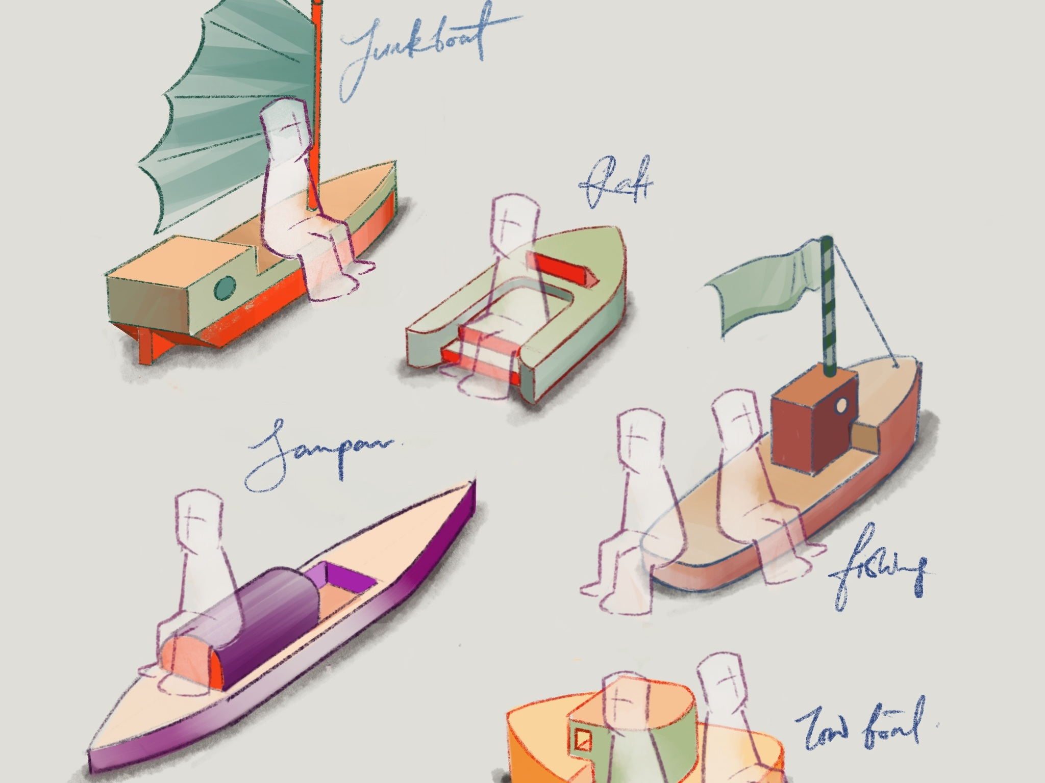 BetaBeta's illustrations of the boat furniture