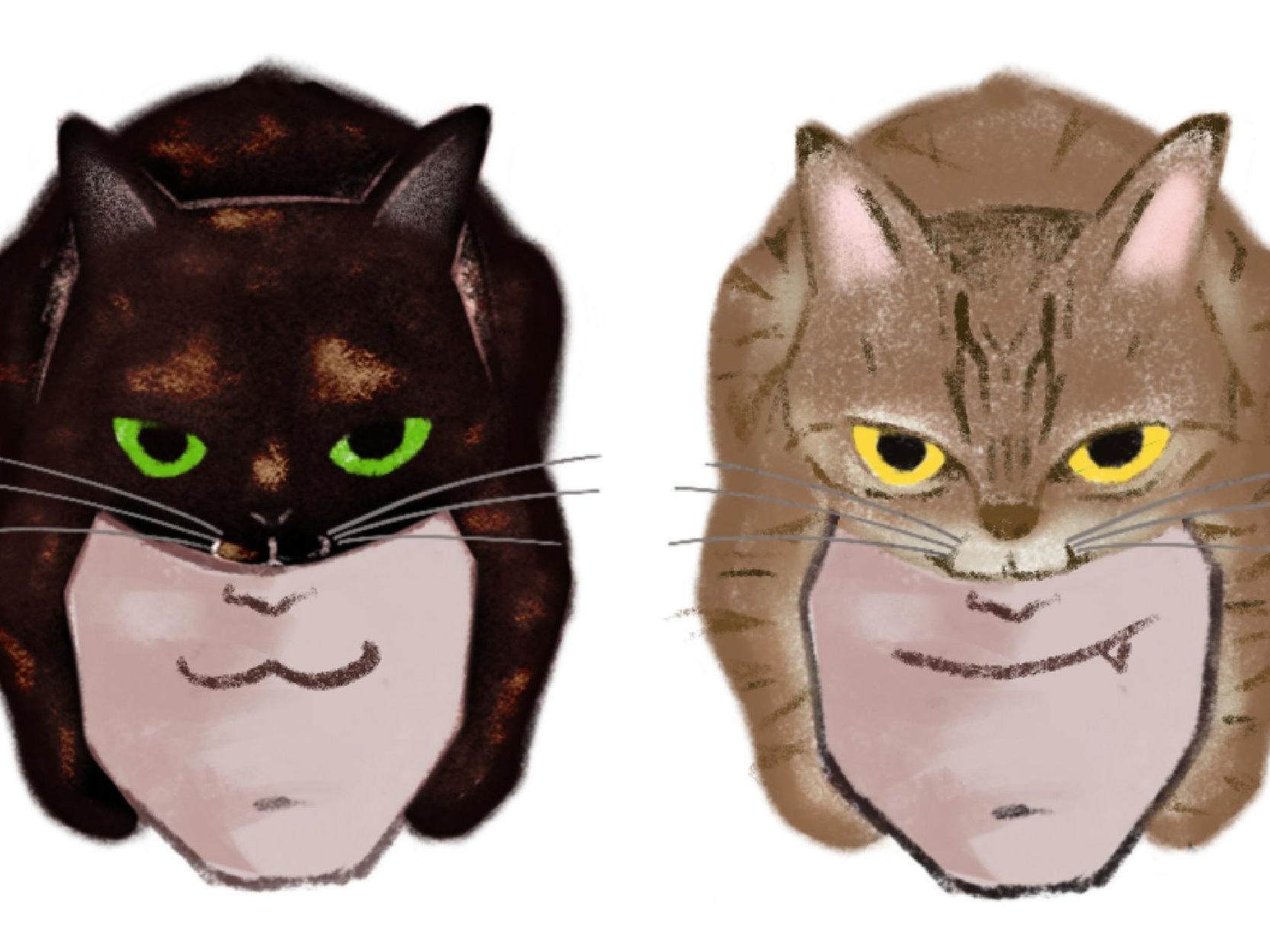 Melvin's illustration of the BetaBeta duo with their respective cats on their heads