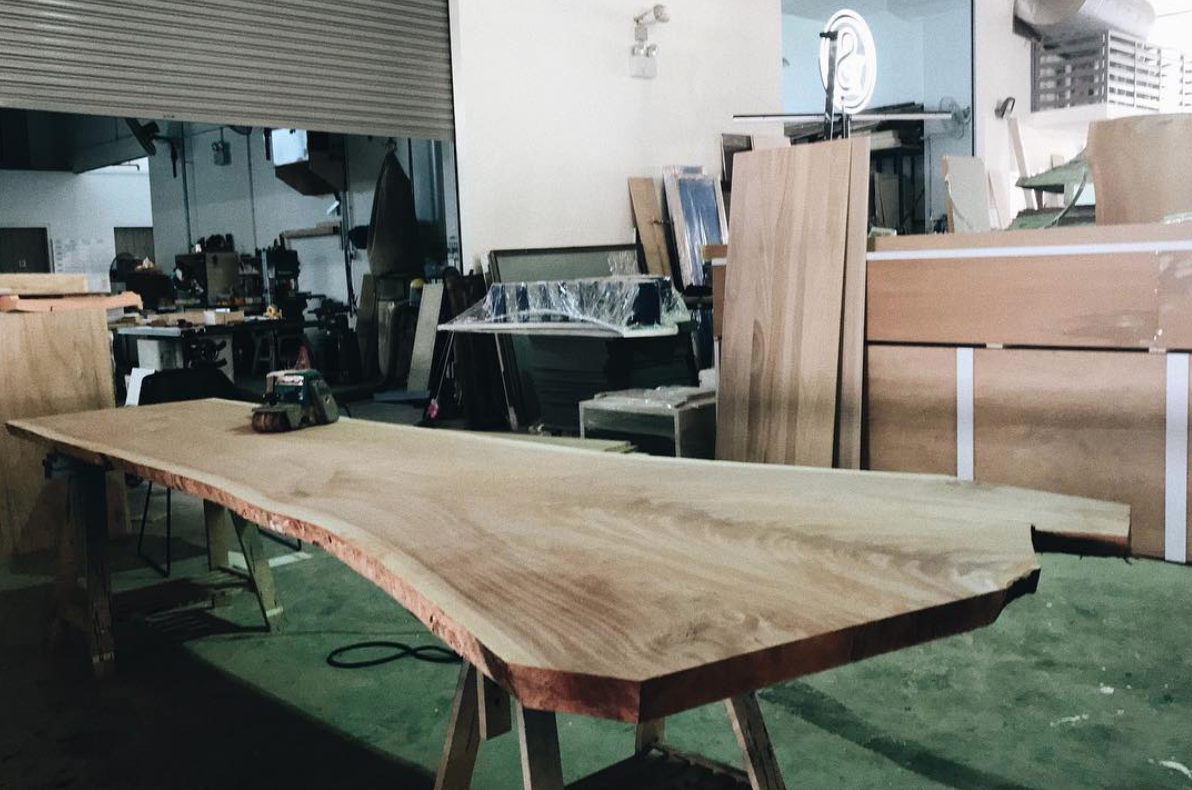 A piece of Singaporean Mahogany in the Roger&Sons workshop