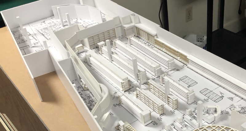 An architect's model of our new store.