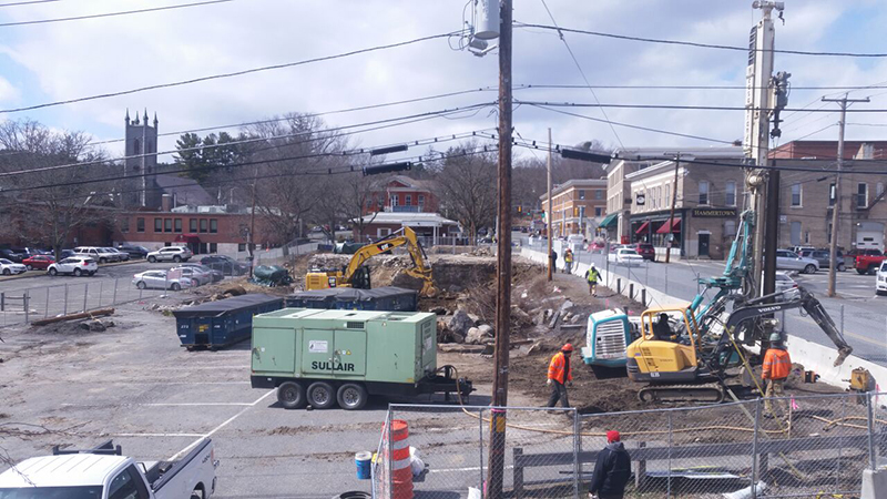 APRIL 5, 2018 - Driving piles to secure Bridge St. before digging the foundation.