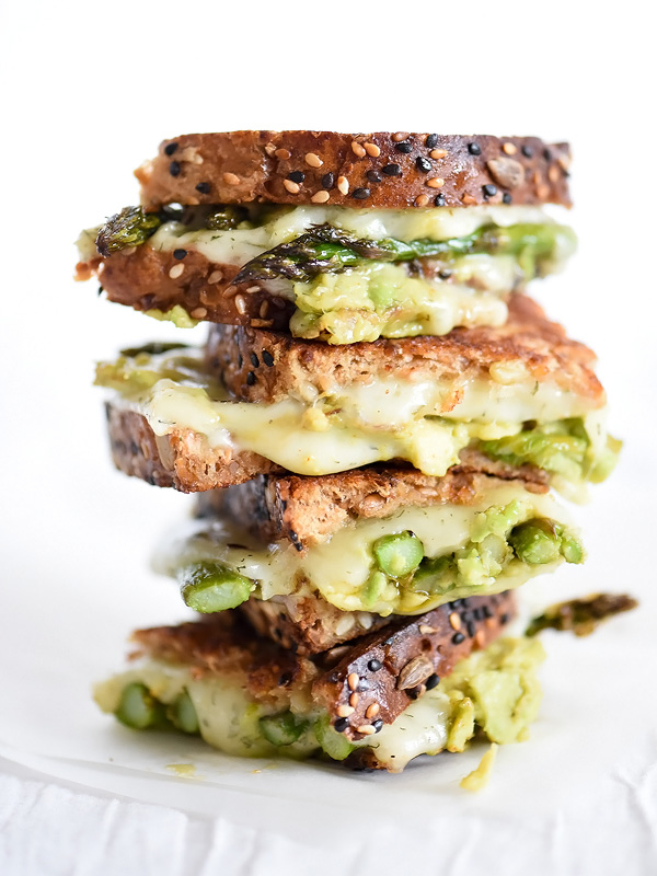 Spicy Smashed Avocado & Asparagus with Dill Havarti Grilled Cheese - Two words. Dill. Havarti. Perfection in a grilled cheese sandwich.from Foodiecrush