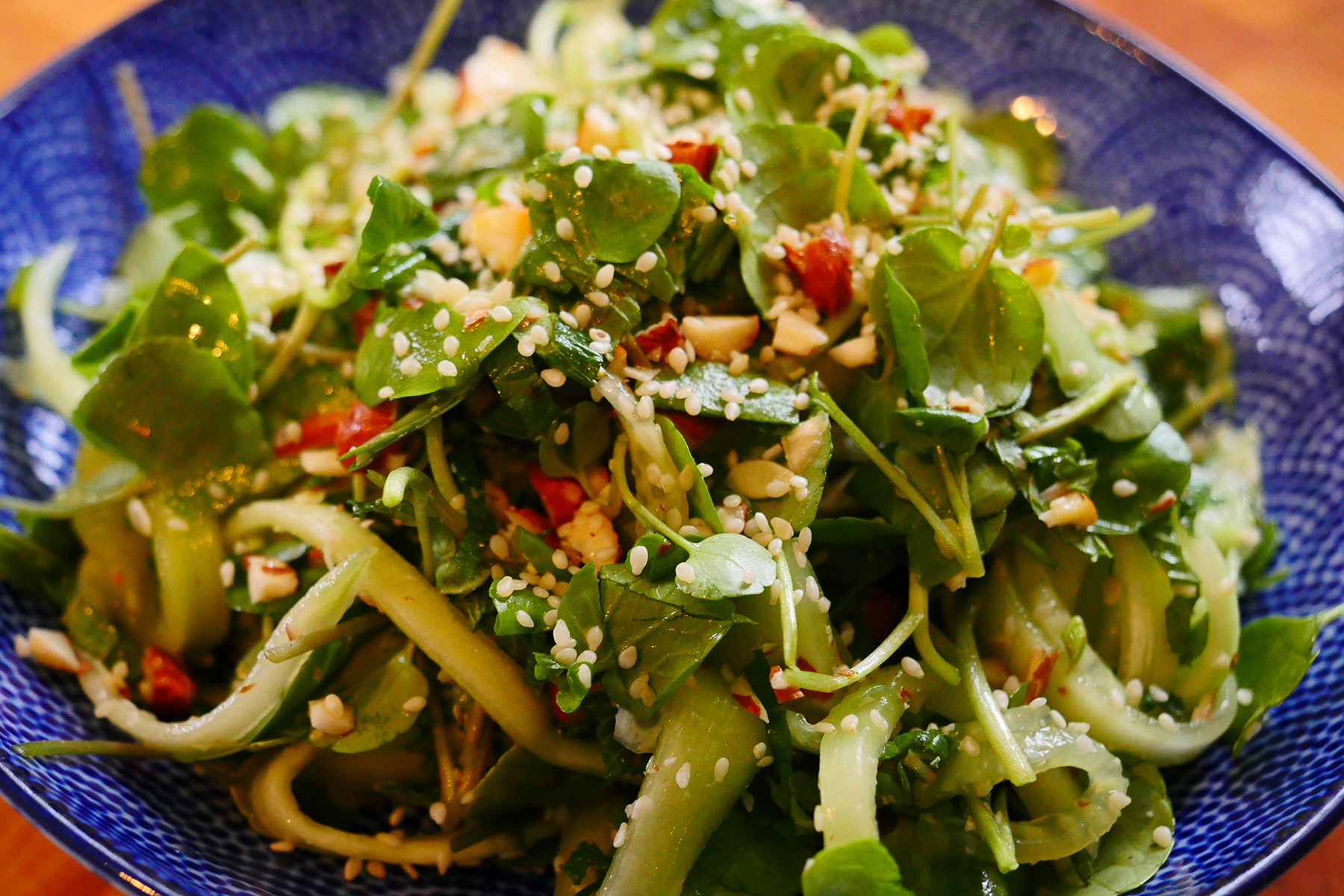 All my taste-testers here at the Co-op agreed that this was a delicious way to prepare watercress. The cucumber and mint lend a coolness to the spicy greens and the toasted sesame oil adds an underlying warmth that balances the whole dish. I hope you try making this simple & delicious salad! If you do, drop me a line at  social@berkshire.coop  and let me know what you think of it!
