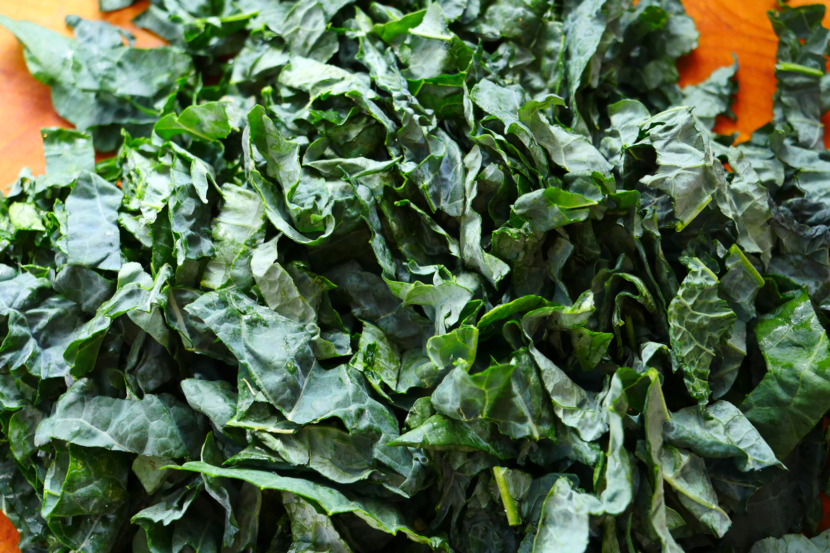 I used one bunch of lacinato kale which amounted to three cups. You could also use broccoli rabe, or collards. I pulled the greens off the stem and chopped them into bite sized pieces. (If you're not sure of the size, imagine how it will sit on your soup spoon and chop accordingly – I don't love soup-sloopy greens.) Once chopped to your satisfaction, set your greens aside.