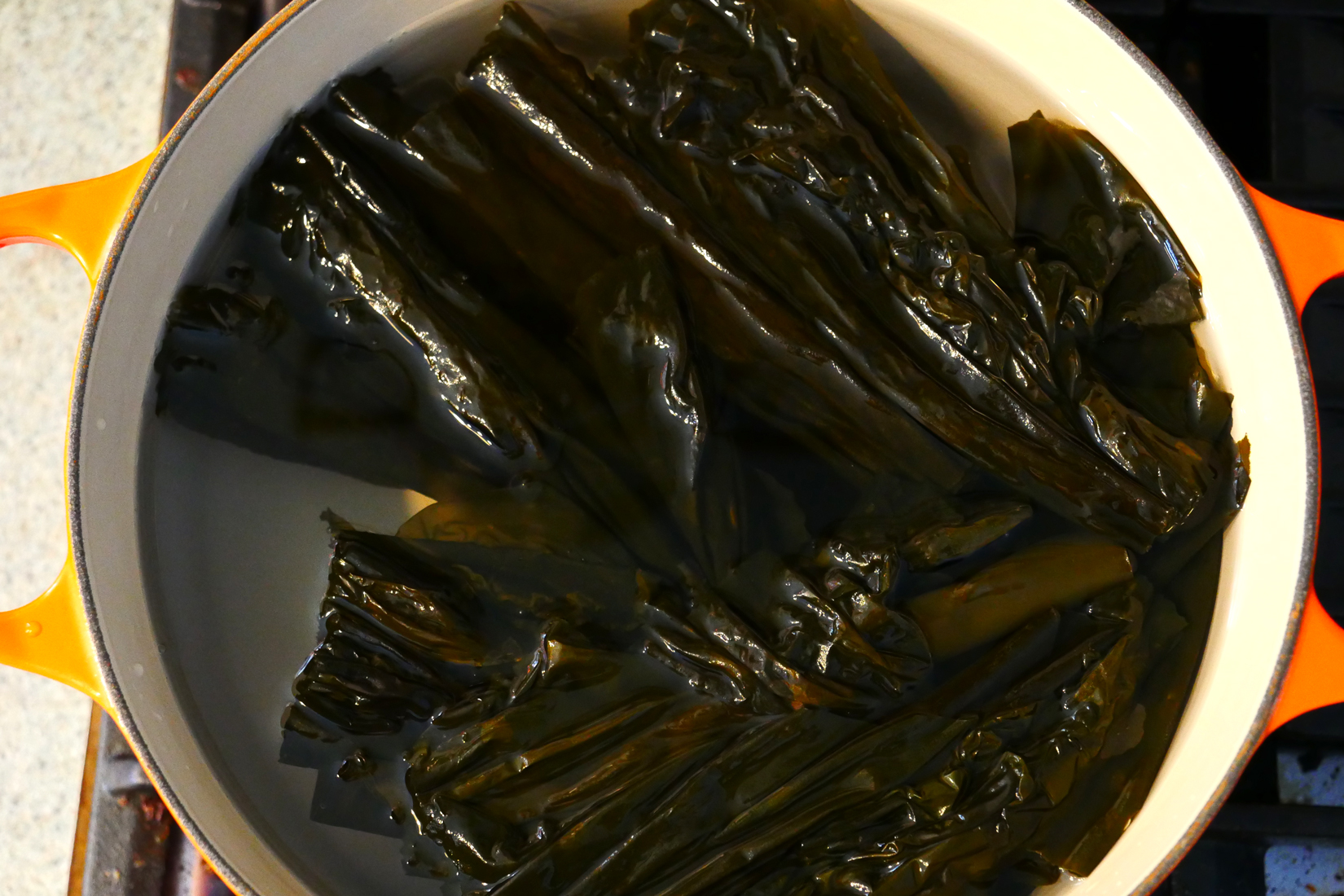 I brought that up to ALMOST a boil, turned off the heat and removed the kombu with tongs.