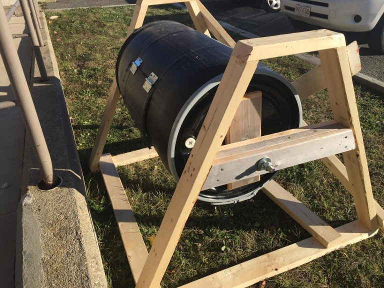 Our brand new rotating composter!