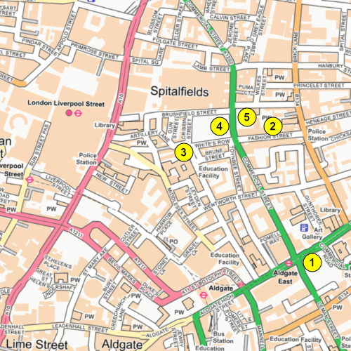 A map of present-day Spitalfields. Numbers refer to locations mentioned below.