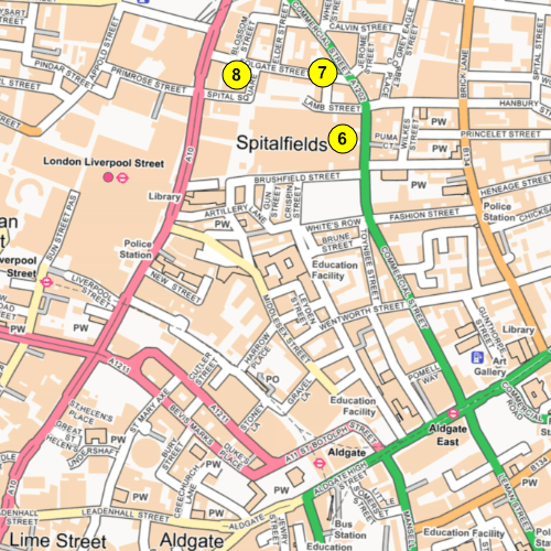 Map of present-day Spitalfields. The numbers are referred to below.