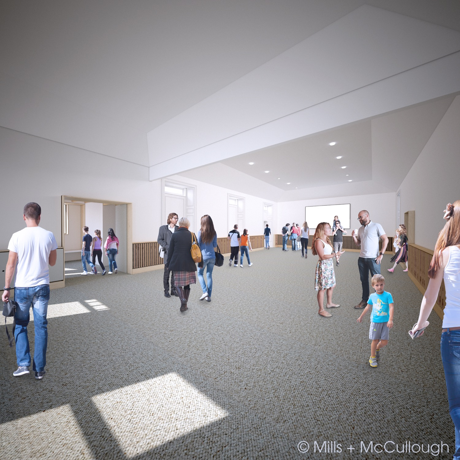 Visualisation of the main hall after the project