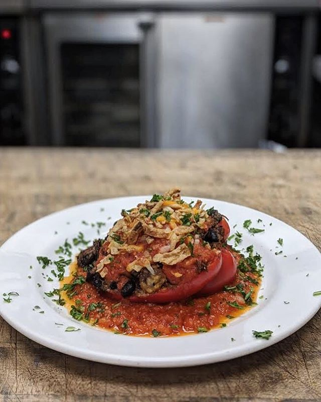 Marcus has been in the kitchen this week making these Jackfruit Stuffed Peppers. Stop by and see us, we can't wait for you to try them!  Tonight's Dinner - Fried Pork Chops w/ Pan Gravy,  Savory Bread Pudding & Honey Glazed Carrots #littlesproutcarryout #goodeats #ashevilleeats #blackmtneats #avl #eatlocal