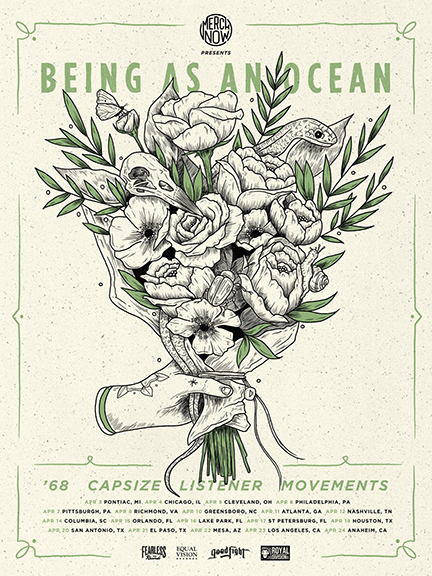 2016 US LISTENER TOUR WITH BEING AS AN OCEAN, '68, CAPSIZE, AND MOVEMENTS.  April 03, 2016 - Pontiac, MI (The Pike Room) April 04, 2016 - Chicago, IL (Beat Kitchen) April 05, 2016 - Lakewood, OH (Mahall's) April 06, 2016 - Philadelphia, PA (The Voltage Lounge) April 07, 2016 - Pittsburgh, PA (The Altar Bar) April 08, 2016 - Richmond, VA (Canal Club) April 10, 2016 - Greensboro, NC (Arizona Petes) April 11, 2016 - Atlanta, GA (The Masquerade) April 12, 2016 - Nashville, TN (Rocketown) April 14, 2016 - Columbia, SC (New Brookland Tavern) April 15, 2016 - Orlando, FL (Backbooth) April 16, 2016 - Lake Park, FL (Kelsey Theater) April 17, 2016 - St Petersburg, FL (Local 662) April 19, 2016 - Houston, TX (Warehouse Live) April 20, 2016 - San Antonio, TX (The Korova) April 22, 2016 - Mesa, AZ (The Underground) April 23, 2016 - Van Nuys, CA (White Oak Music Hall) April 24, 2016 - Anaheim, CA (Chain Reaction)